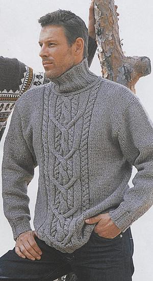 Мужской свитер с узором косы.