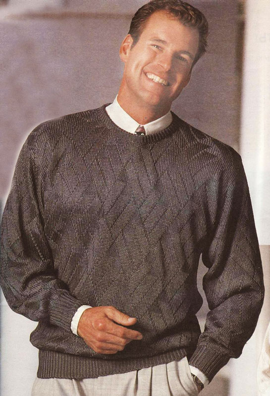 Шелковый вязаный мужской пуловер.