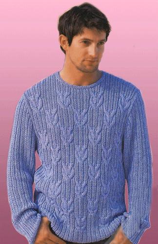 Пуловер с узором Морские узлы в резинку с косами