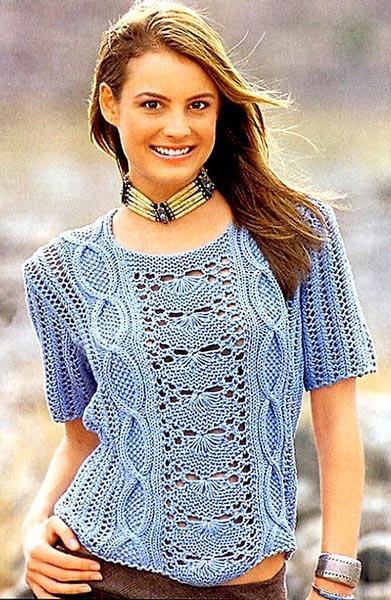 Голубой вязаный спицами пуловер