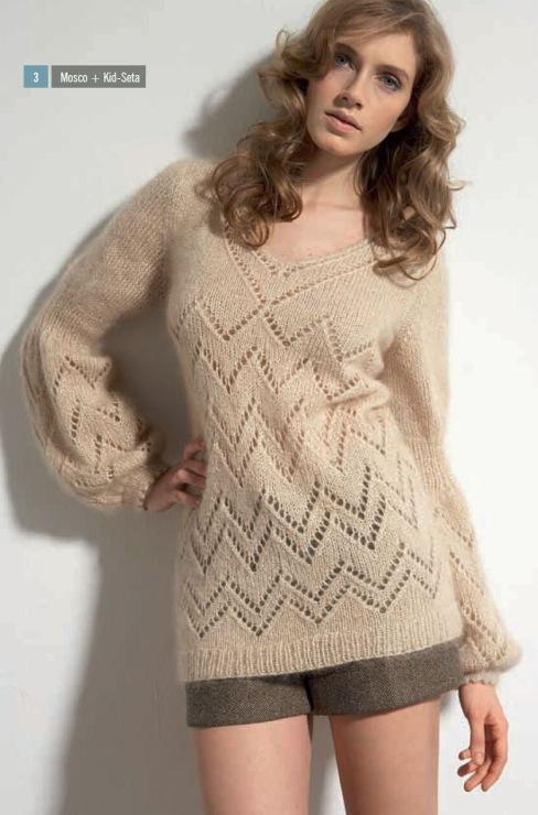 """Вязаный спицами ажурный пуловер """"мерцание жемчуга"""""""