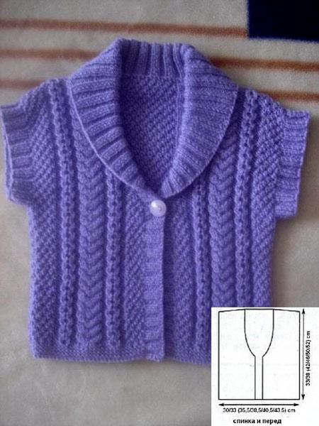 Вязаный детский жакет с короткими рукавами.