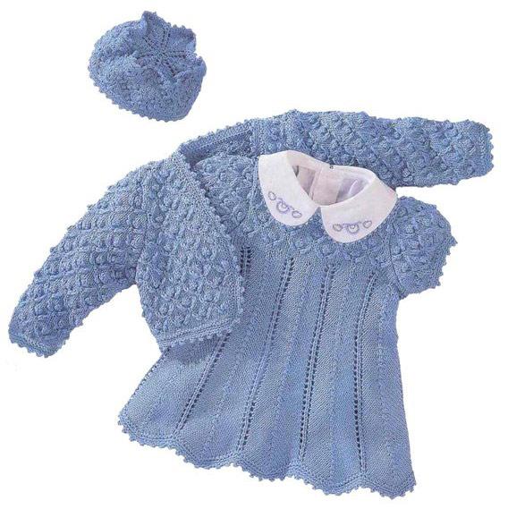 Болеро, платье и шапочка для девочки.