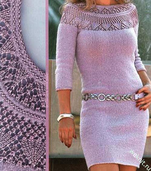 Платье с ажурной кокеткой. Вязание спицами.