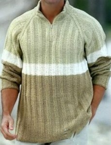 Вязаный мужской пуловер с воротником на молнии