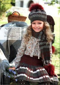 Шапочка, шарф и юбочка для девочки, вязаные спицами.