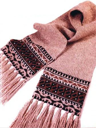 Вязаный турецкий шарф с бахромой.