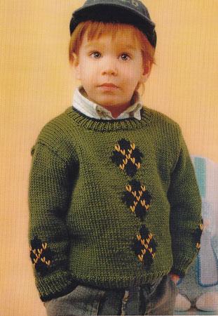 Вязаный спицами джемпер на мальчика 3 - 4 лет.