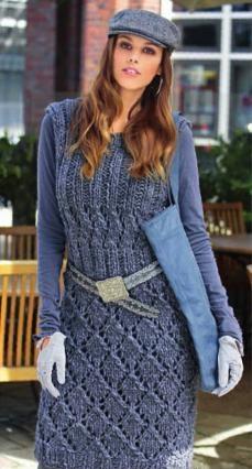 Вязаное спицами платье с ажурными узорами.