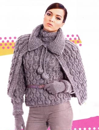 """Пуловер с """"шишечками"""" и накидка спицами."""