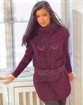 Удлинённый пуловер с ажурным узором. Вязание спицами.