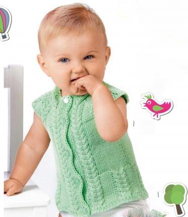 Как связать жилет для малыша спицами