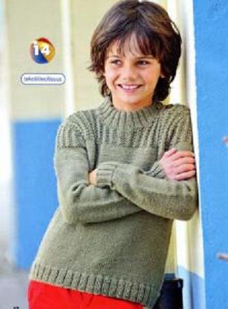 Детский пуловер вязаный спицами.