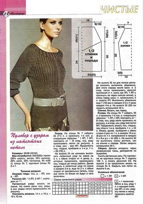 Пуловер из патентных петель. Схема и описание.