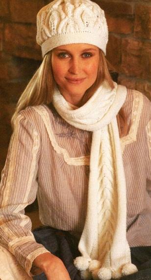 Шапка и шарф спицами.