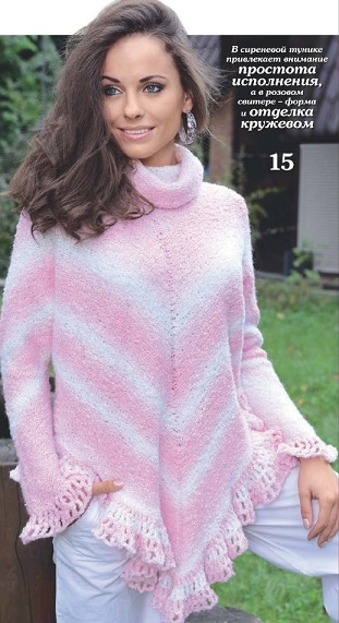 Женский свитер реглан вязаный спицами.