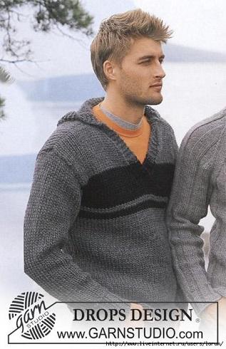Мужской пуловер с капюшоном вязаный спицами.