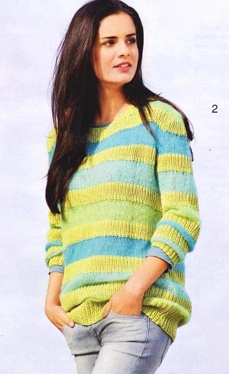 Пуловер в полоску вязаный спицами.