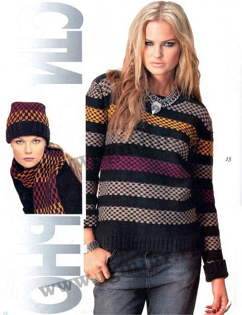Пуловер вязаный спицами.