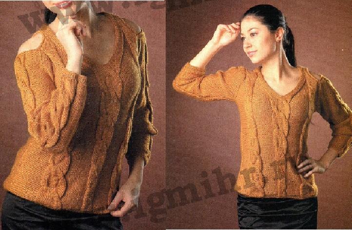 Пуловер с открытыми плечами вязаный спицами.