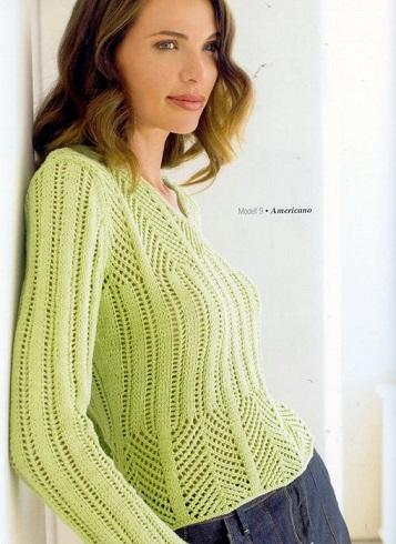 Ажурный пуловер вязаный спицами.