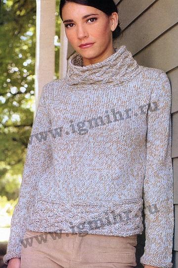 Пуловер с оригинальным воротником вязаный спицами.