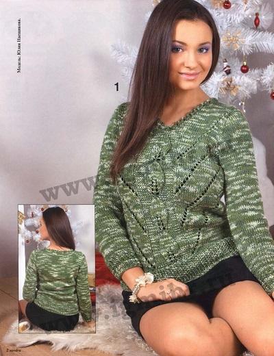 Меланжевый узорчатый пуловер вязаный спицами.