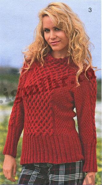 Пуловер с плетёным узором вязаный спицами.