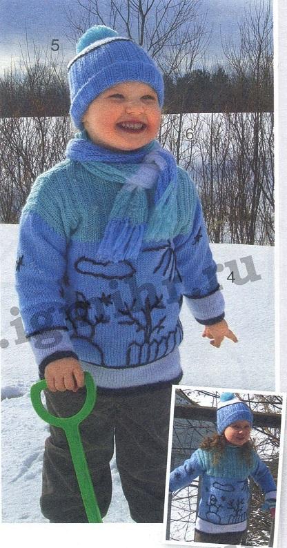 Детский комплект вязаный спицами: свитер, шапочка и шарф.
