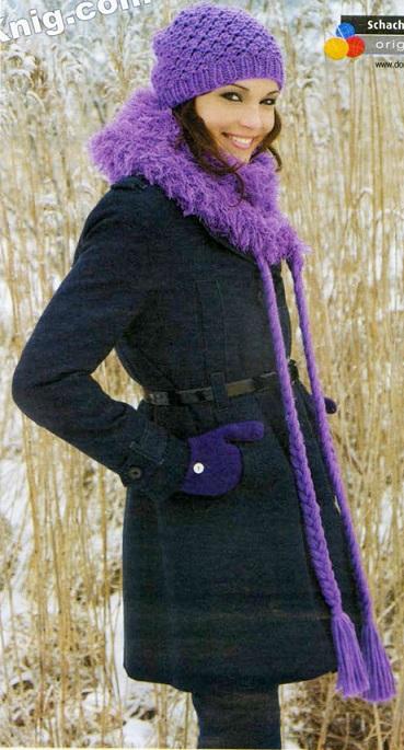 Шапочка и шаль с косами вязаные спицами.