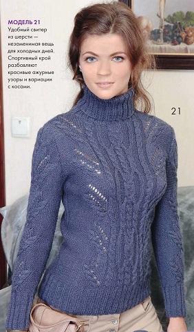 Вязание спицами свитера с