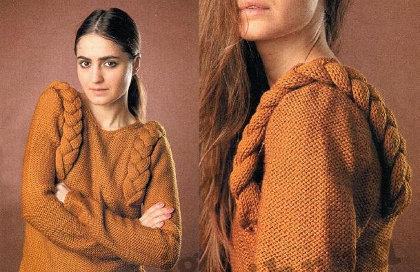 Пуловер с косичками вязаный спицами.