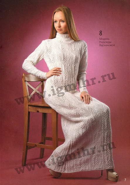 Белое ажурное платье вязаное спицами.