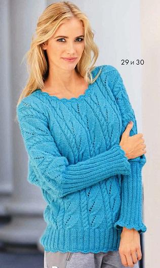 Пуловер с узором из листьев и кос, вязаный спицами.