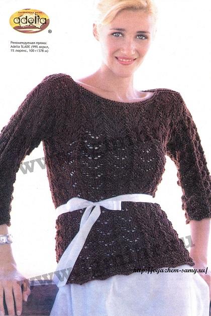 Пуловер с рукавом 3/4 вязаный спицами.