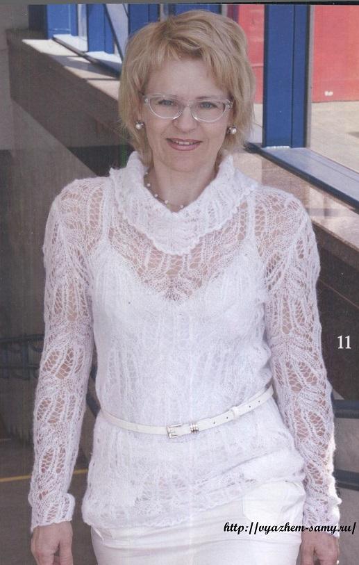 Вязание спицами модного женского свитера