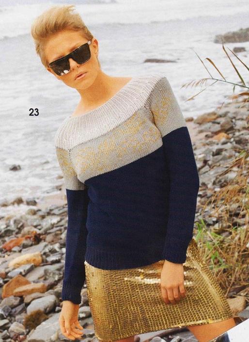 Полосатый пуловер с блёстками вязаный спицами.