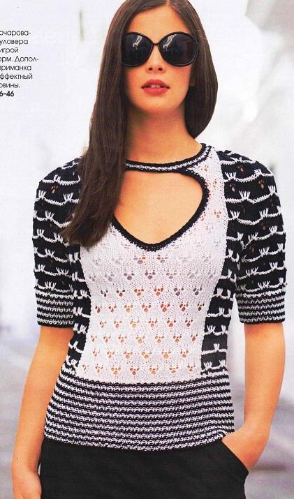 Чёрно-белый пуловер с узором из вытянутых петель вязаный спицами.