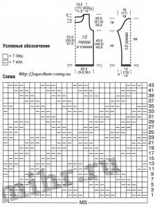 схема патентного узора и выкройка пуловера