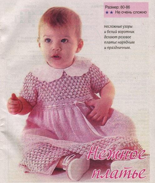 Розовое ажурное платье на девочку вязаное спицами.
