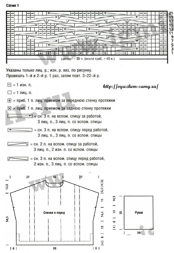 свитер-пончо спицами схема