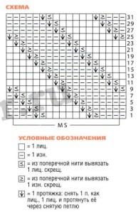 схема диагонального узора спицами