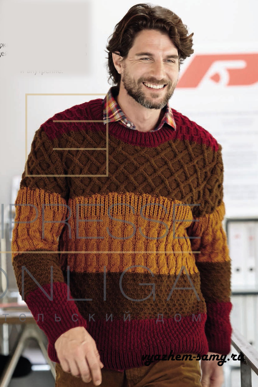 схема вязания мужского джемпера спицами с капюшоном
