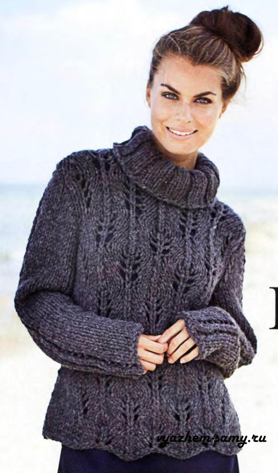 свитер с рукавом реглан схема вязания