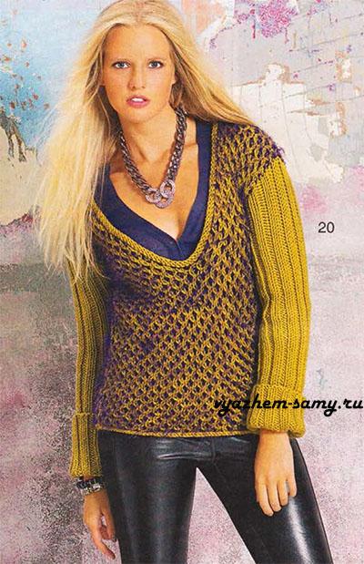 Пуловер узором из сот вязаный спицами.