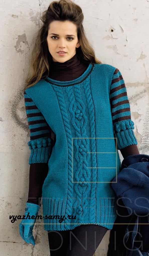 Udlinyonnyj-sine-zelyonyj-pulover