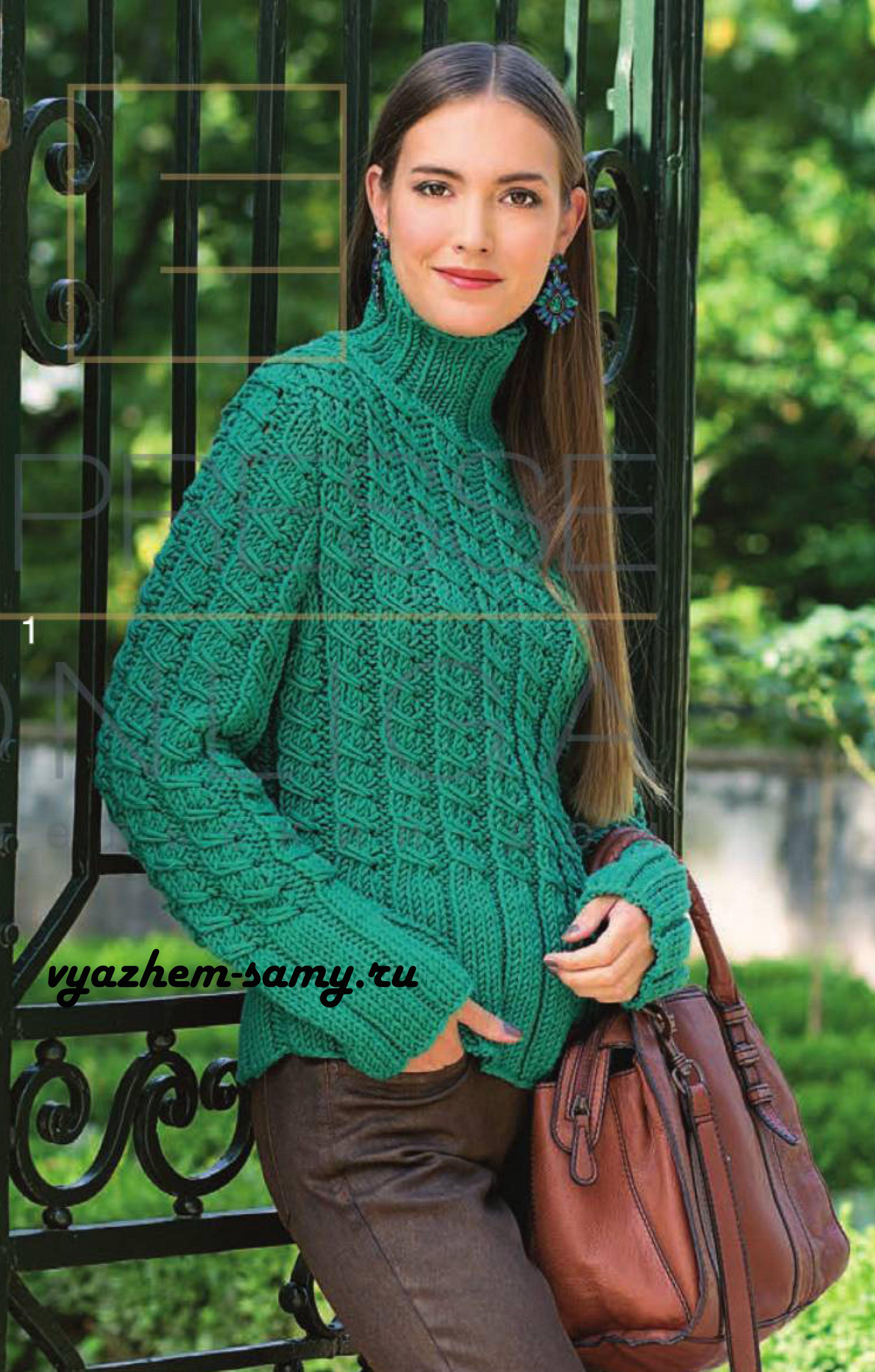 Вязаный спицами пуловер с узором из кос и резинки.